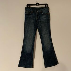 Seven Mankind Bootleg Flared Blue Jeans 28 Crystal
